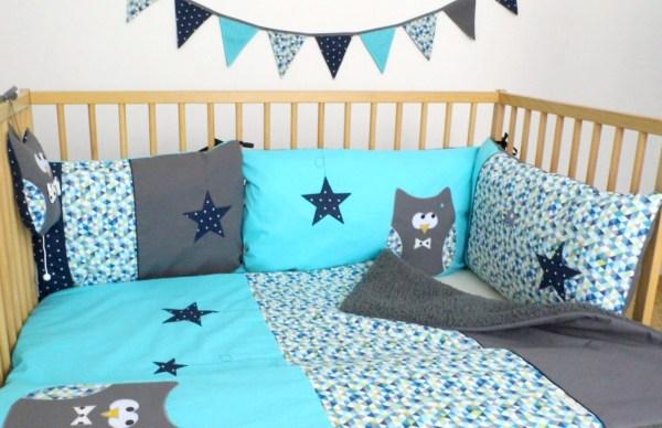 liste-naissance-sur-mesure-theme-hibou-bleu-turquoise-gris-decoration-chambre-bebe-couverture-personnalisable-prenom