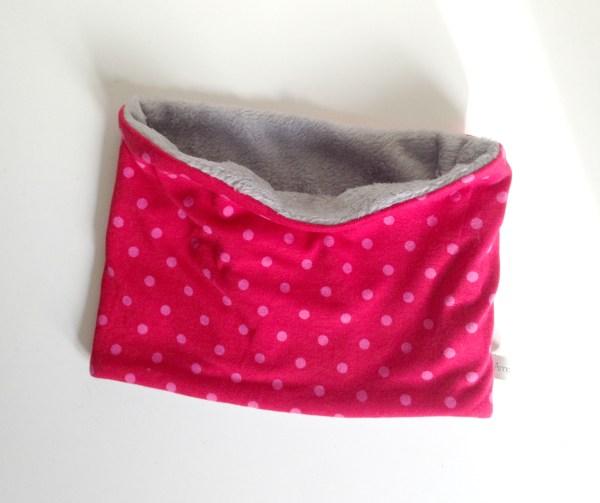 cache-cou-tube-rose-fuchsia-fille-pois-doudou-polaire-gris-baby-scarf-pink