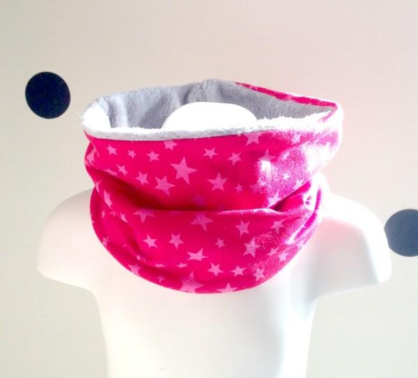 echarpe-enfant-tube-snood-bebe-cache-col-rose-etoiles-fuchsia-ecole-maternelle