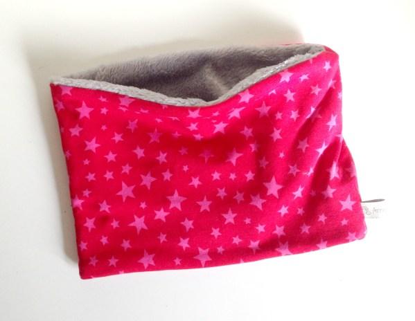 cache-cou-tube-echarpe-bebe-jeune-enfant rose-fuchsia-etoiles-interieur-doudou-polaire-gris