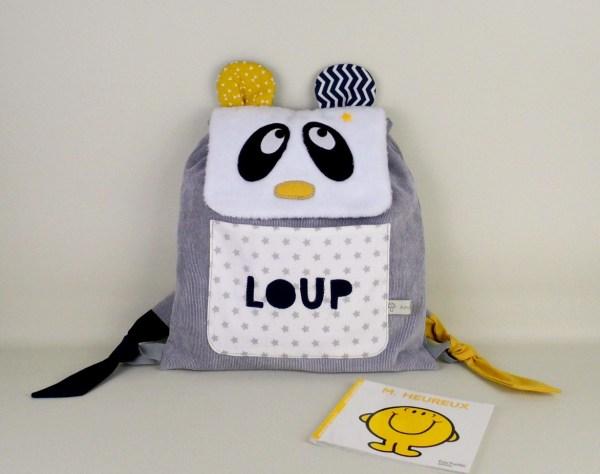 sac-a-dos-bebe-panda-personnalise-loup-gris-bleu-marine-jaune-moutarde-cadeau-naissance-bapteme