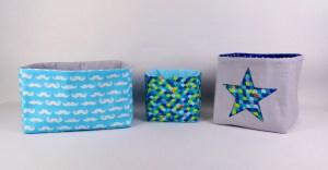 Corbeilles-de-rangement-en-tissu-personnalisée-table-à-langer-décoration-chambre-bébé-bleu-turquoise-marine-gris-étoiles-moustaches-amanite-rose
