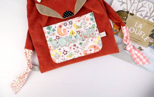 sac-enfant-maternelle-renard-personnalisable-prenom-roxane-sac-a-dos-bebe-personnalise-nom-fox-toddler-backpack-with-name