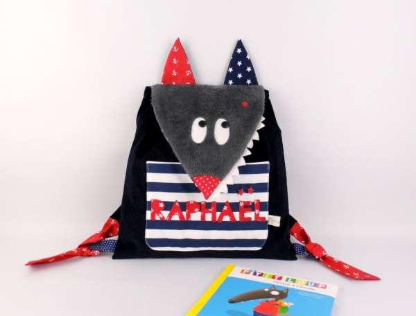 sac-a-dos-enfant-personnalise-prenom-raphael-bleu-marine-rouge-style-marin-sac-bebe-personnalisable-kindergarten-backpack-wolf-navy