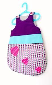 turbulette-sac-couchage-bebe-violet-rose-bleu-turquoise-liste-naissance-personnalisee-cadeau-bebe-artisanat-francais