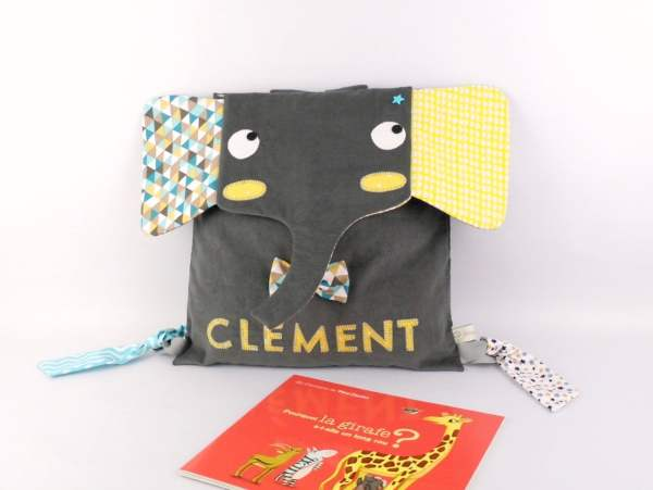 sac-maternelle-garcon-personnalise-clement-sac-elephant-jaune-moutarde-gris-bleu-canard