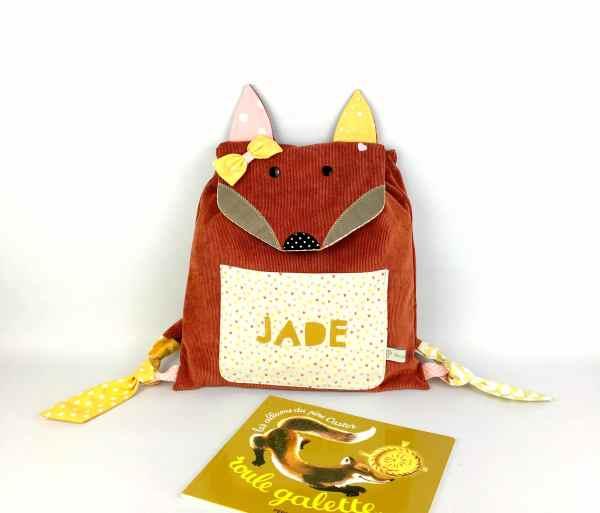 sac-renard-fille-personnalise-prenom-jade-sac-enfant-jaune-moutarde-rose-poudre-ecole-maternelle-creche-cadeau-naissance-bapteme