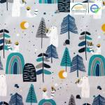 ours-polaire-arbres-sapins-fond-gris