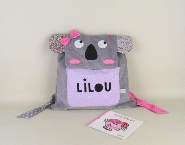 sac-maternelle-fille-koala-mauve-rose-cartable-personnalisable-prenom-lilou