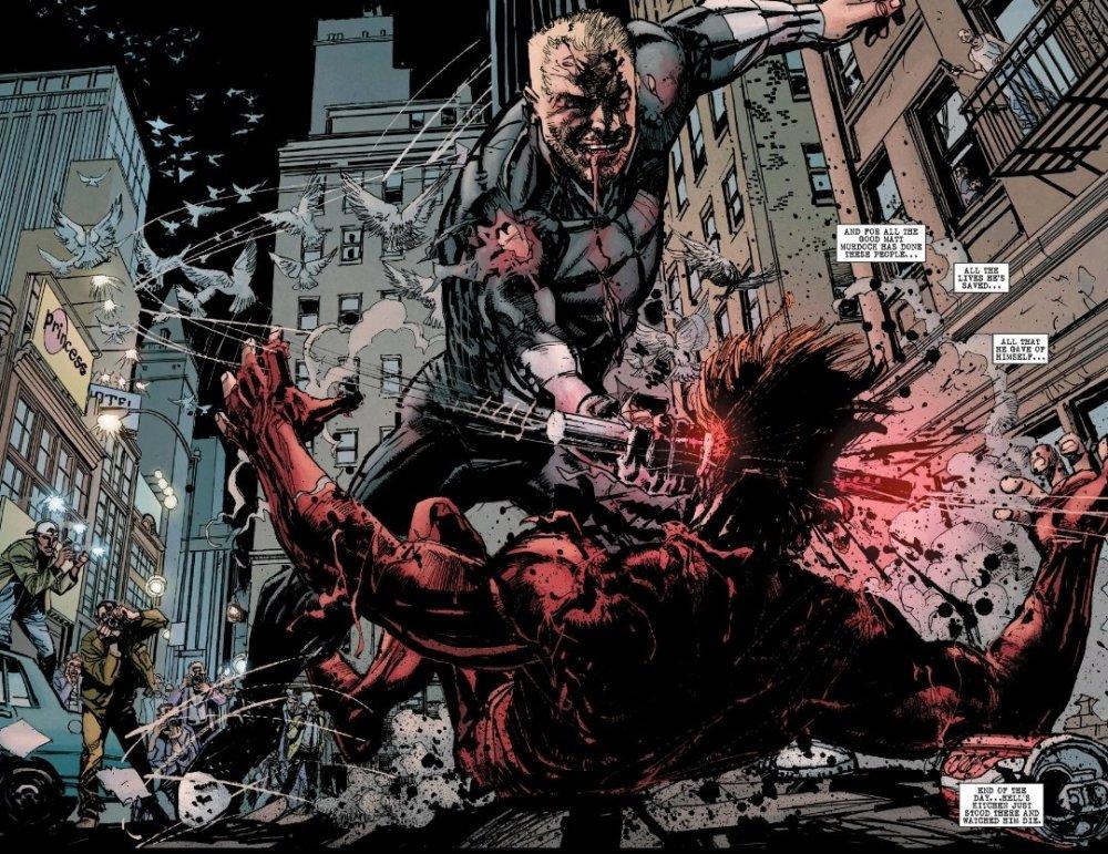 Bullseye kills Daredevil violently in the street