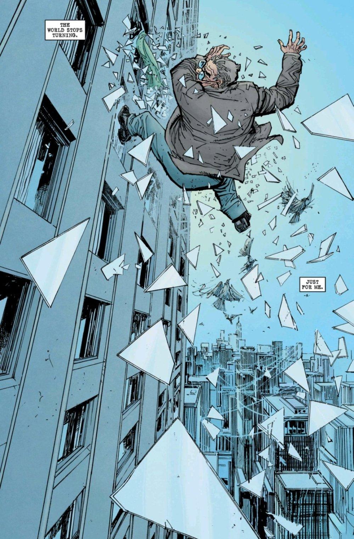 Ben Urich falling out of a window
