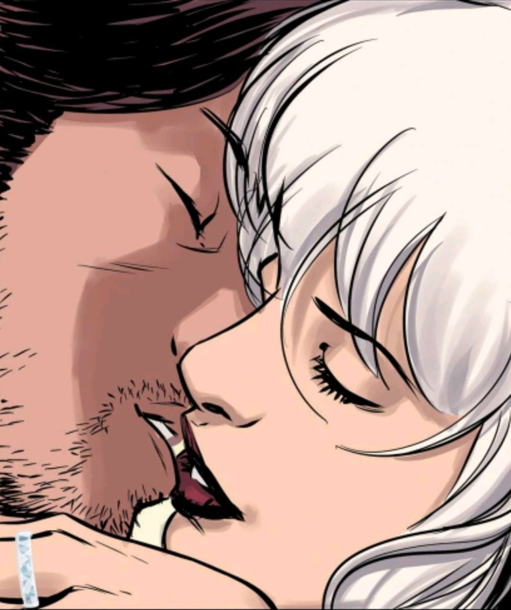 Rogue and Gambit kissing