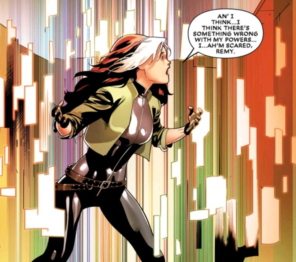 Rogue losing control of her powers in the Mojoverse