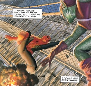 spiderman and green goblin fighting