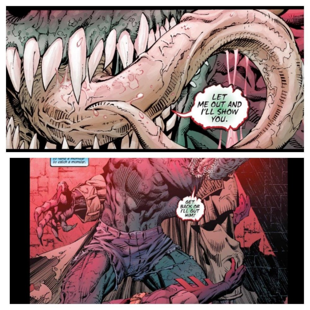 Killer Croc's tongue and little cutoff shorts