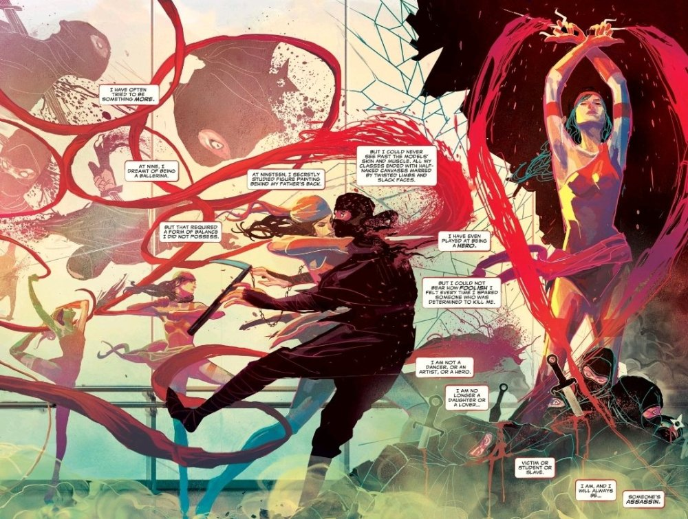 Elektra dancing and fighting