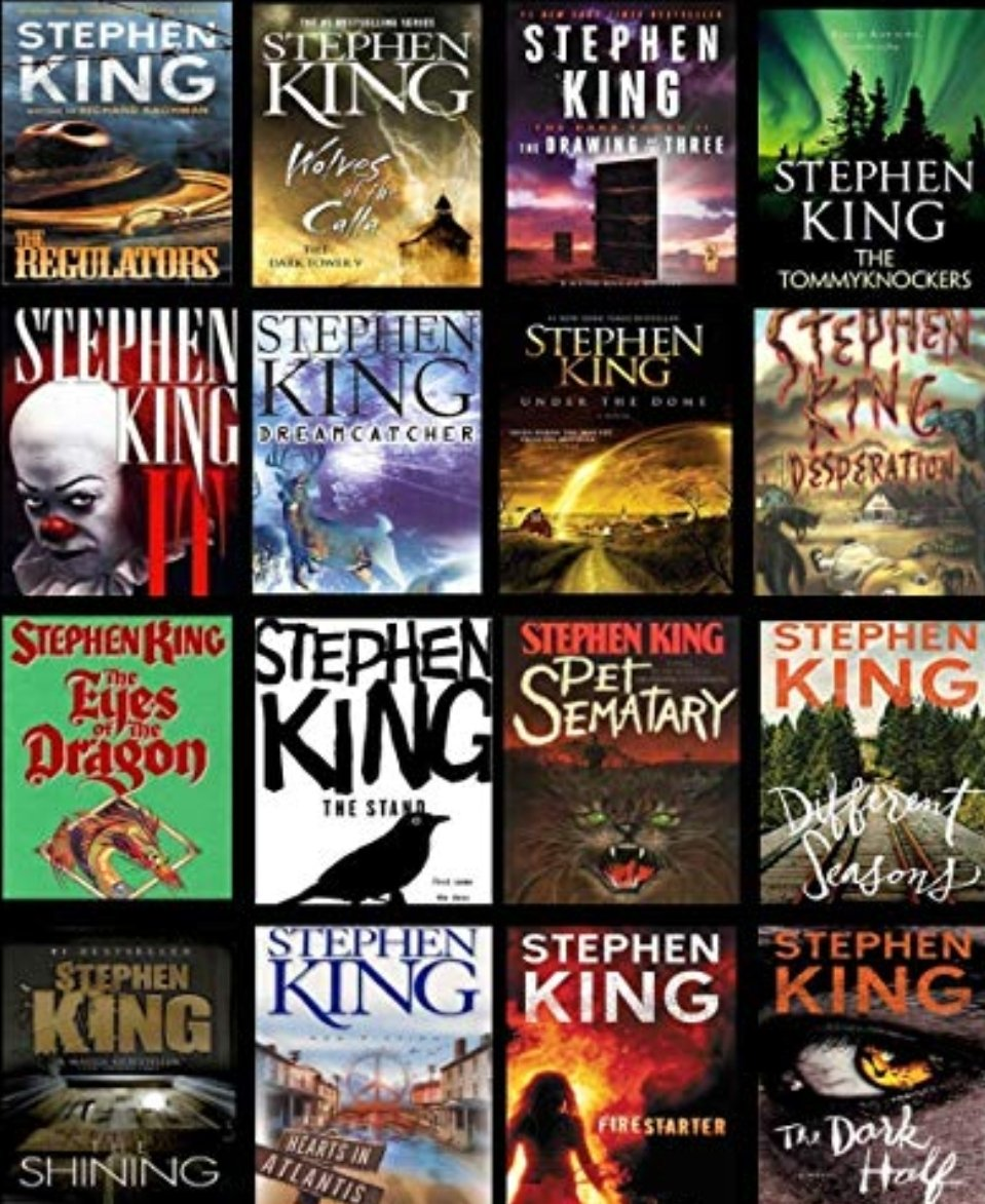 A collage of Stephen King book covers