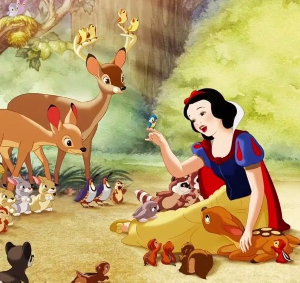Snow White and forest animals