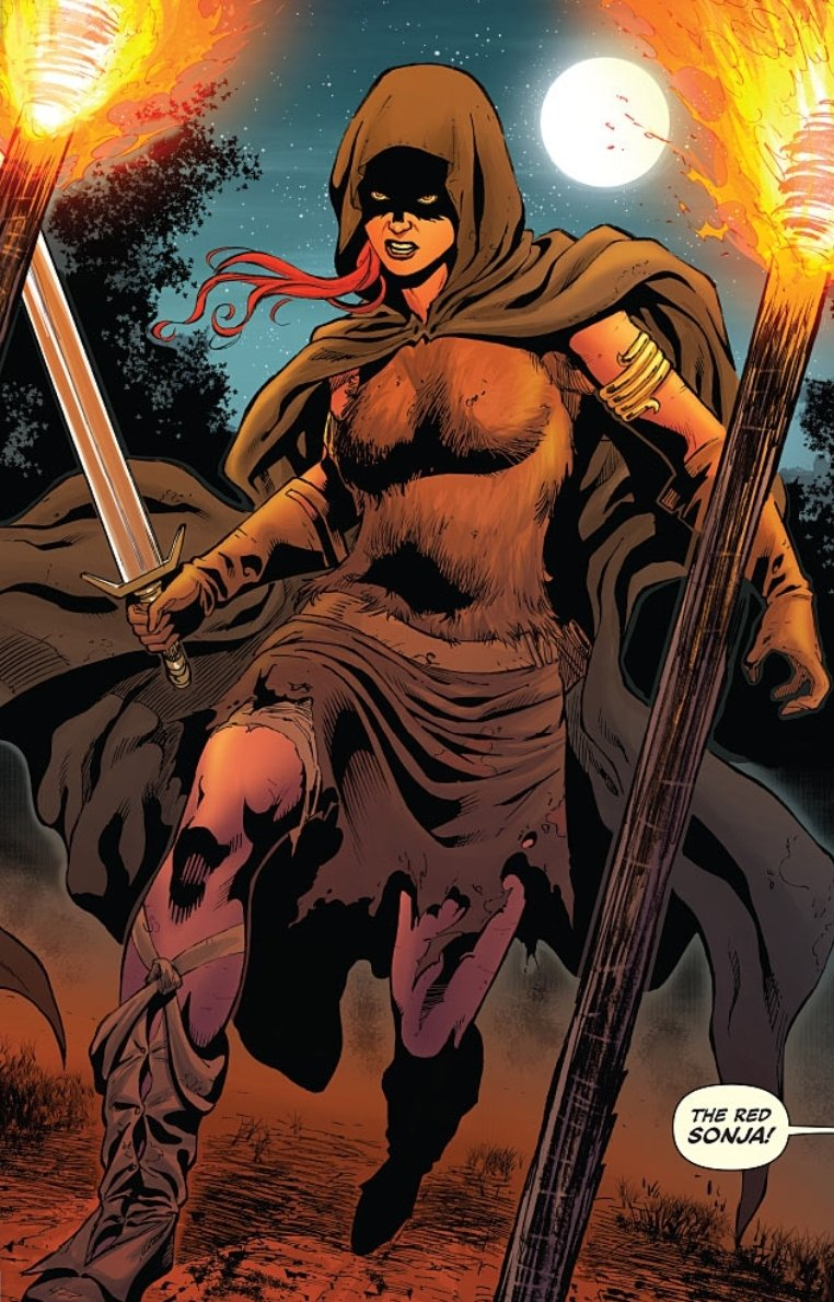 Red Sonja in tattered garb with a sword