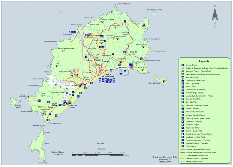 Mapa da ilha de Porto Santo