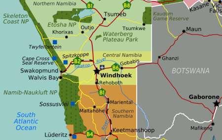Mapa da Namibia
