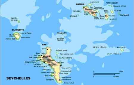 Mapa das Seychelles