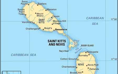 Mapa de São Cristovão e Névis