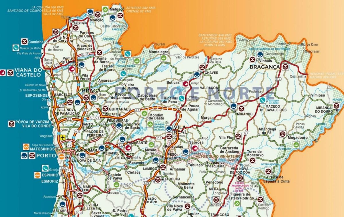 Região Norte Mapa De Portugal Norte.Destinos A Norte De Portugal Amantes De Viagens