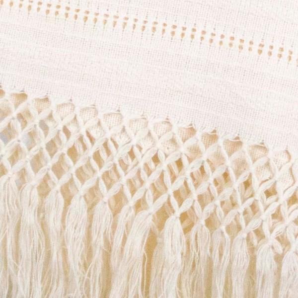 Handmade Mexican Handwoven Shawl Scarf Wrap Beige 100% Cotton