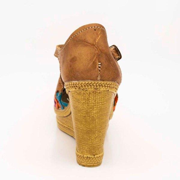 amantli mexican handmade women camelia huarache sandal shoe honey heel view