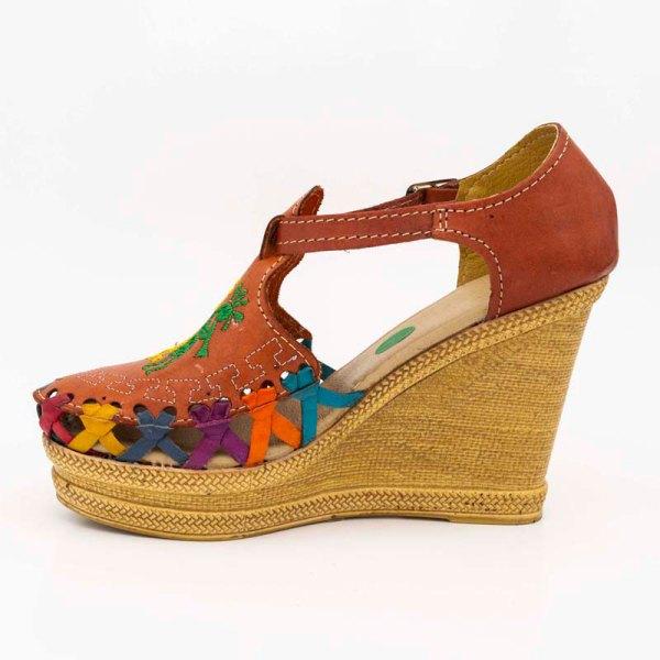 amantli mexican handmade women camelia orange huarache sandal shoe orange inner view