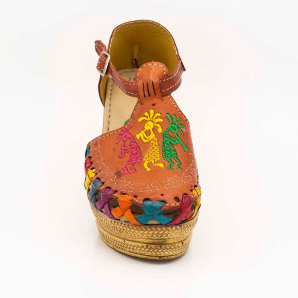 amantli mexican handmade women camelia huarache sandal shoe orange upper view