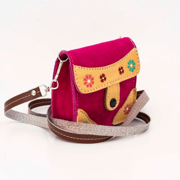 handmade-iris-girls-fuchsia-suede-leather-mexican-handbag-front-view-123