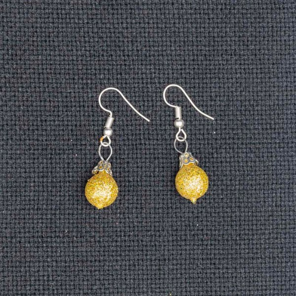 Pair of handblown glass golden earrings