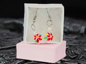 Christmass Poinsettia handblown glass earrings shown in a box