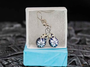 White Poinsettia handblown glass earrings