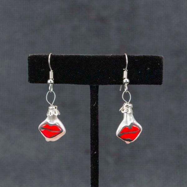 Cute handblown glass red kiss earrings