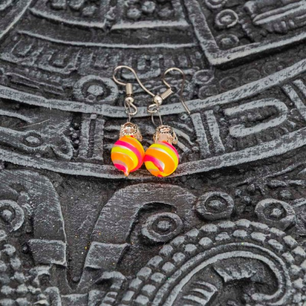 swirl-hand-blown-glass-pink-yellow-orange-earrings-122
