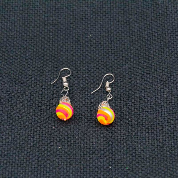 swirl-hand-blown-glass-pink-yellow-orange-earrings-123
