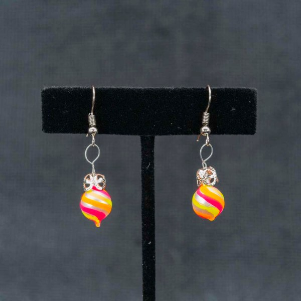 swirl-hand-blown-glass-pink-yellow-orange-earrings-126