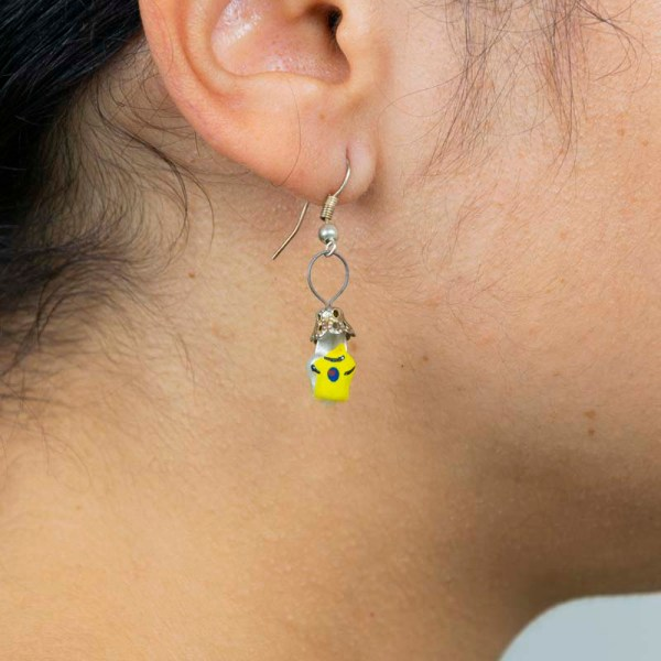 Girl wearing tees-hand-blown-glass-yellow-earrings-237