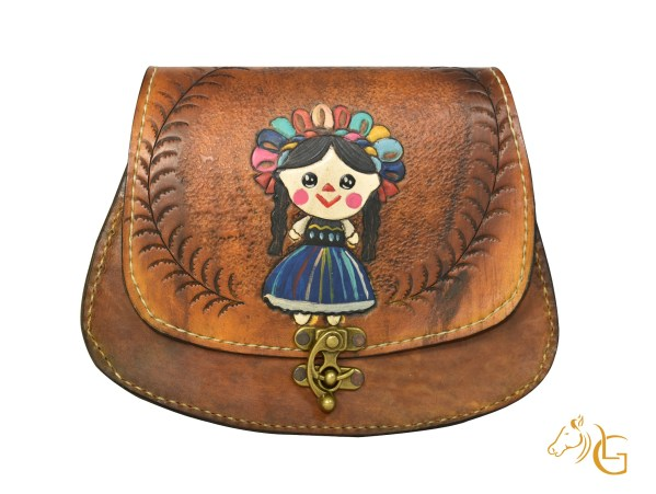 Handmade Hand painted Mexican Leather Cow hide purse handbag-106