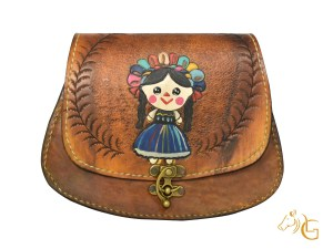 Handmade Hand painted Mexican Leather Cow hide purse handbag-106