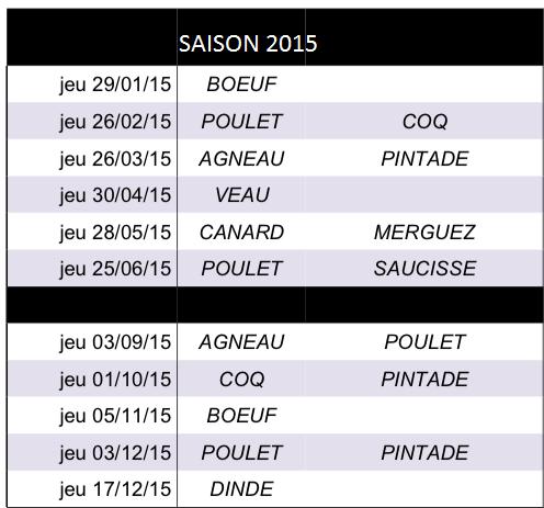 AMAP DES PERCE-NEIGE : amap viande à Nancy Planning 2015