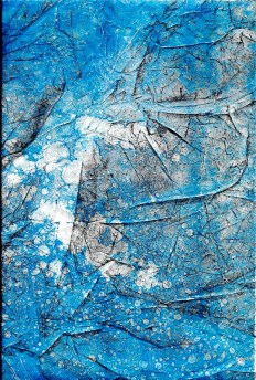 two layers, creased black and solvent thinned blue