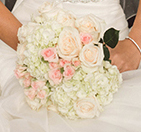 white light pink rose bridal bouquet