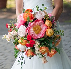cascaiding bridal bouquet pink,orange, Amaranth Florist
