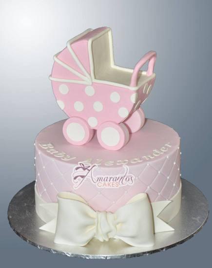 Round with Pram Cake - Amarantos Designer Cakes Melbourne