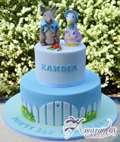 Two Tier Peter Rabbit Cake - Amarantos Designer Cakes Melbourne