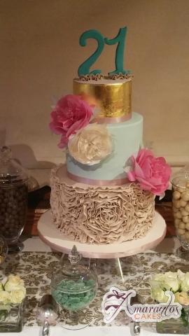Five Tier 21st Birthday Cake – AC327 – Celebration Cakes Melbourne – Amarantos
